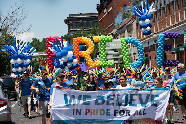 Athens community and OHIO students participate in a pride parade.