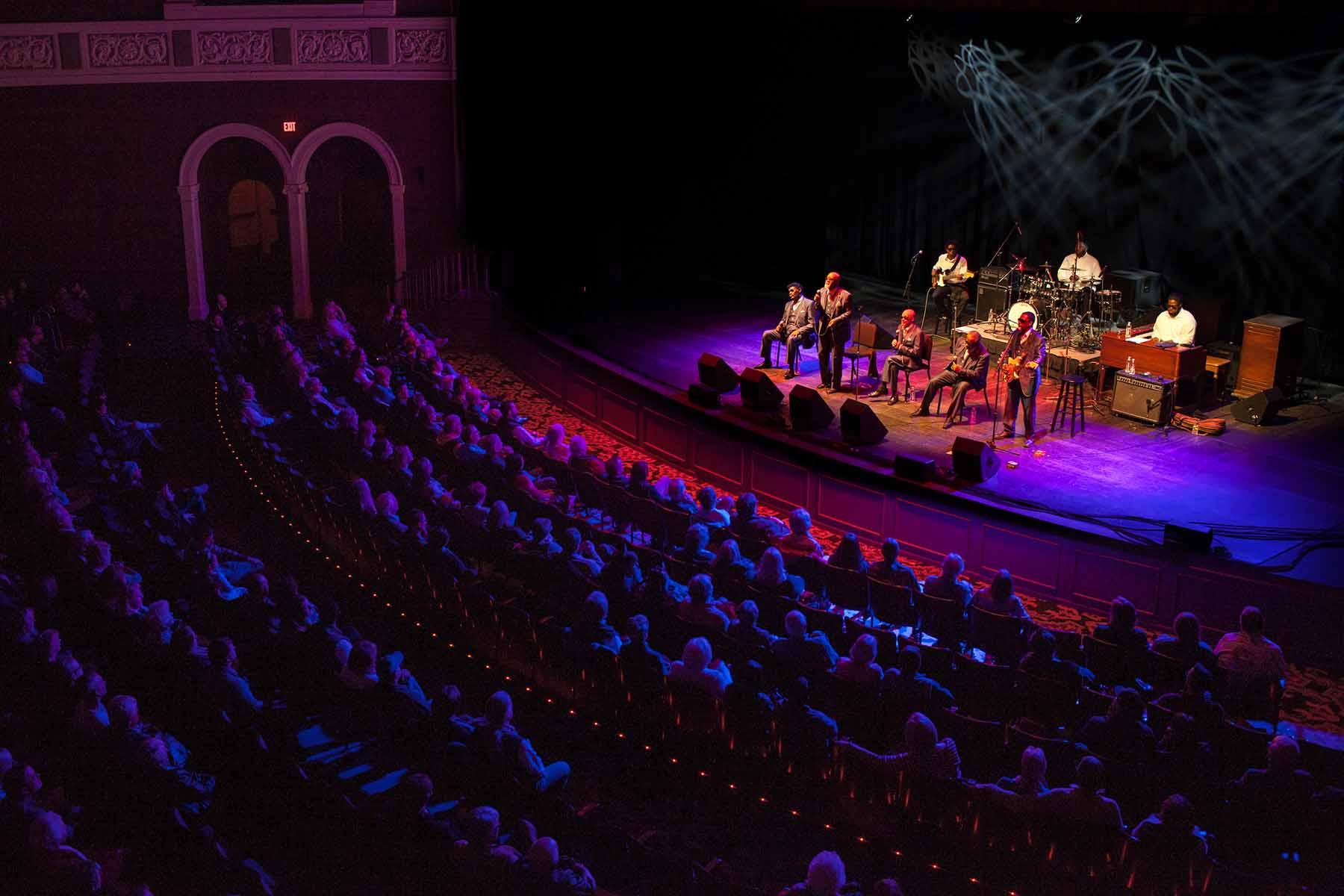 Photograph of the Blind Boys of Alabama performance at Templeton-Blackburn Memorial Auditorium on the Ohio University Campus in Athens, Ohio on Nov. 14, 2015