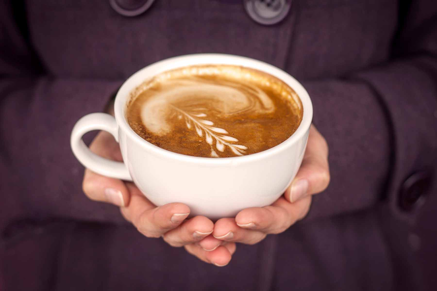 Stock photograph taken of a latte created at Donkey Coffee and Espresso in Athens, Ohio on Jan. 15, 2016