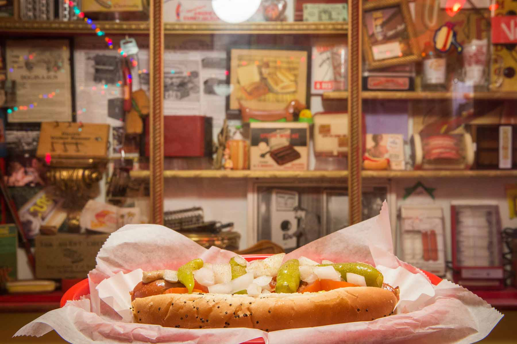 """Photographs of the Salome at O'Betty's Red Hot in front of the """"Hotdog Museum"""" at the store in Athens, Ohio on October 2, 2017"""