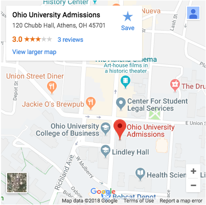 Map and Address of Ohio University Admissions