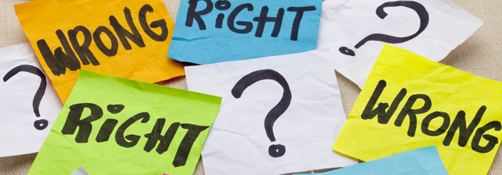 "Ethics graphic with sticky notes showing ""right,"" ""wrong,"" and question marks"