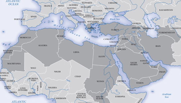 map of Europe and Middle East and North Africa