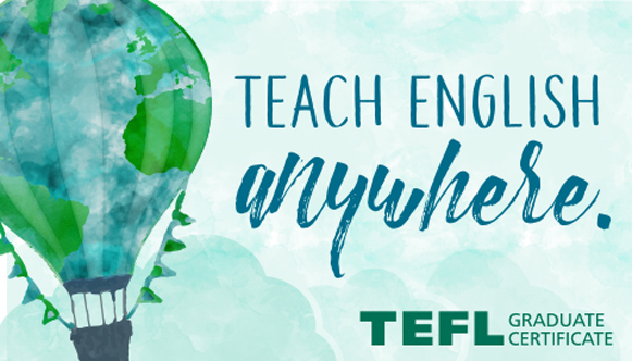 TEFL Hot air ballon graphic with Teach English Anywhere tagline