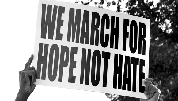 We march for hope not hate protest poster