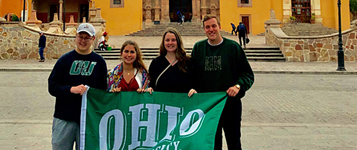 OHIO Experiential-learning students and Father Miguel Hidalgo y Costilla's church in the town of Dolores Hidalgo, Guanajuato.