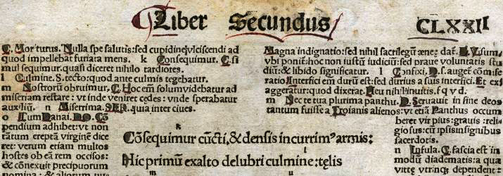 Page from book 2 of the Aeneid by Virgil, printed by Johann Gruninger, 1502. Courtesy of the Farfel Collection in the Mahn Center at Ohio University.