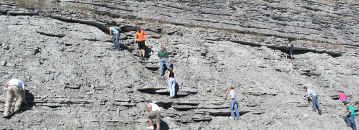 Paleontology students collect samples on a field trip to Maysville.