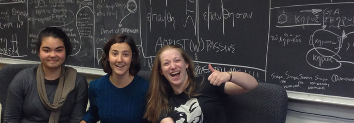 Nailed that Assignment! Students in Greek 2110, from left: Miyo Peck-Suzuki, Olivia Teleha, and Ellie Riepenhoff.