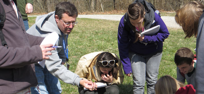 Dr. Harvey Ballard takes his Ohio Flora class into the field.
