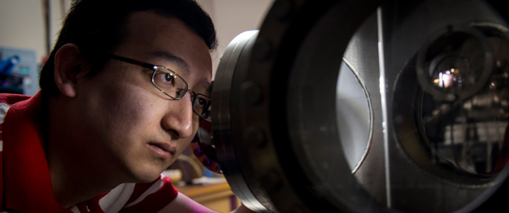 Graduate Student Kyaw Zin Latt works in the Hla Lab.