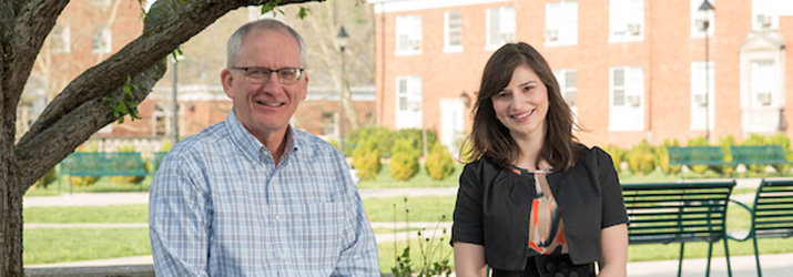 Professor of Psychology Steven Evans, left, nominated Ohio University graduate student Raisa Ray, right, for the Distinguished Master?s Thesis Award from the Midwestern Association of Graduate Schools. Photo credit: Ben Siegel, Ohio University.