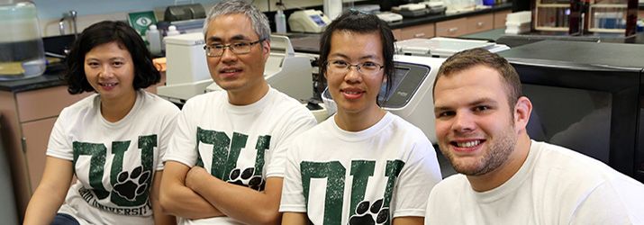 Visiting Scholar Dr. Fanglei Liao, Dr. Zhihua Hua, and graduate students Susan Zhang, and Alex Meyers.