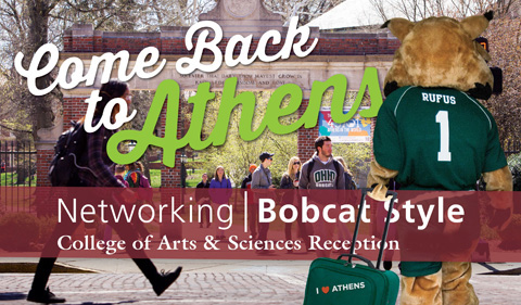 Graphic inviting Arts & Sciences alumni back to network with students