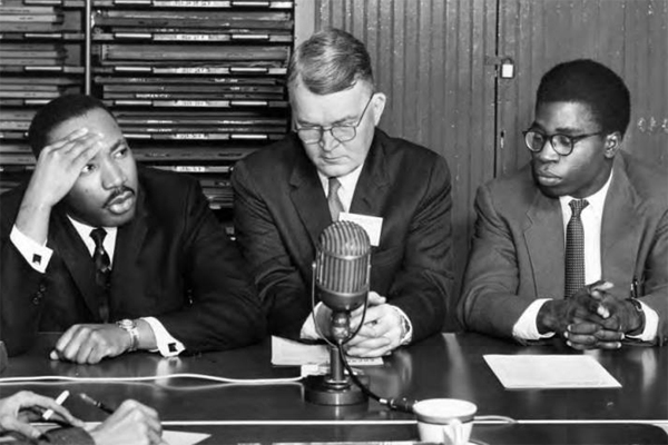 Martin Luther King Jr. at news conference at OHIO in 1960