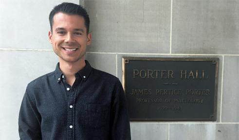 Dominic Ysidron, portrait at Porter Hall sign