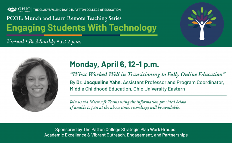 Patton College of Education Remote Teaching Series: Session 1 with Jacqueline Yahn