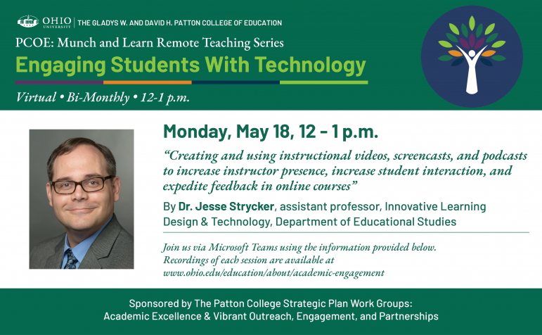Patton College of Education Remote Teaching Series: Session 4 with Jesse Strycker