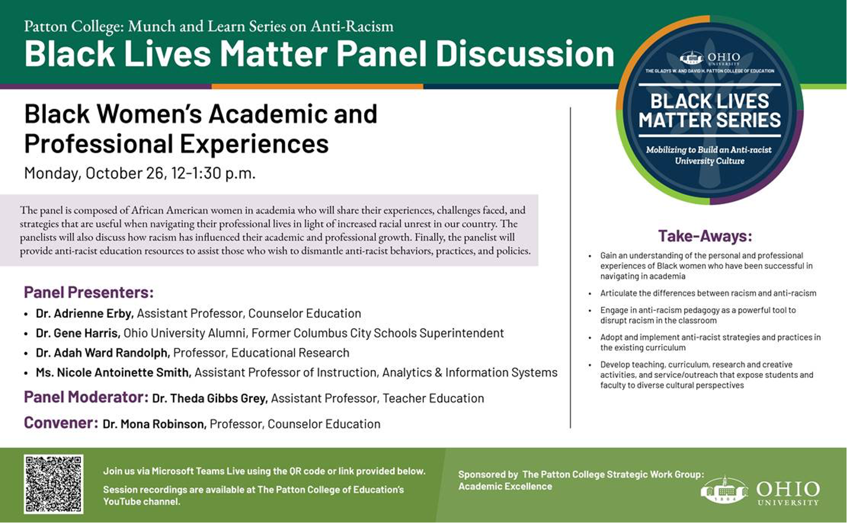 Black Women's Academic and Professional Experiences event flyer