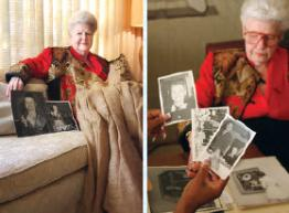 Violet Patton showing pictures of her family