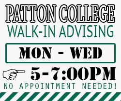 Walk In Advising Monday-Wednesday 5-7 pm