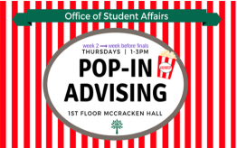 Pop-In Advising Thursdays from 1-3 pm