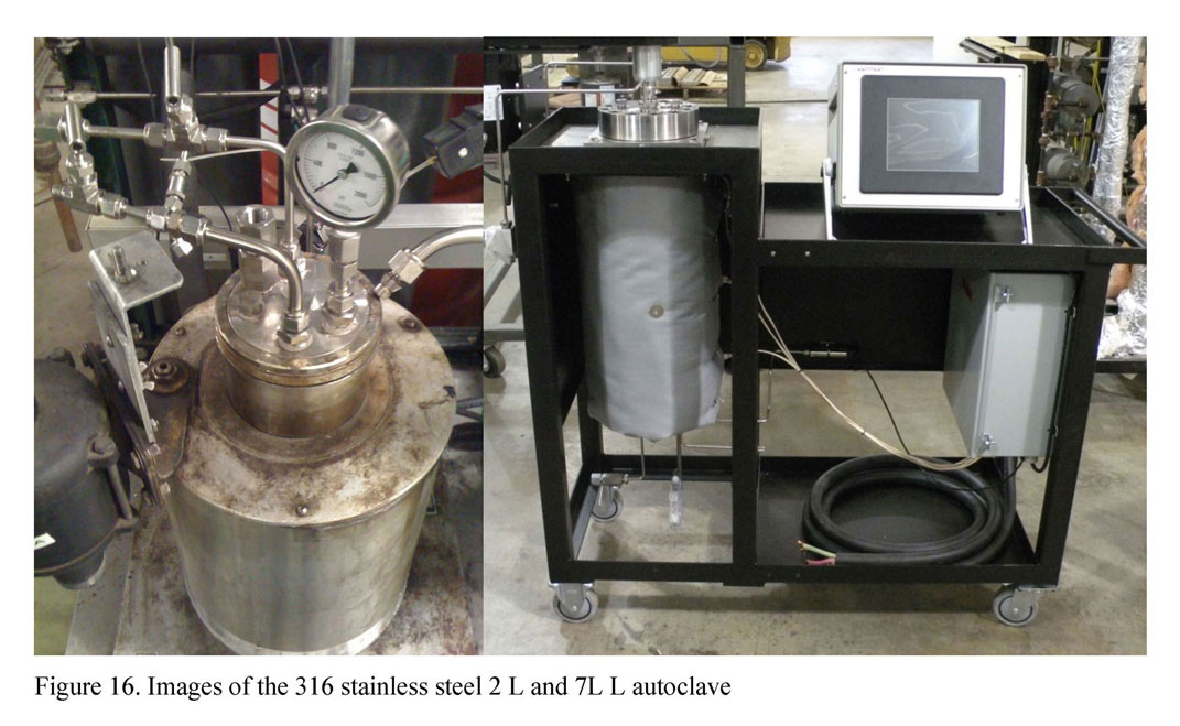 Images of the 316 stainless steel 2 L and 7L L autoclave