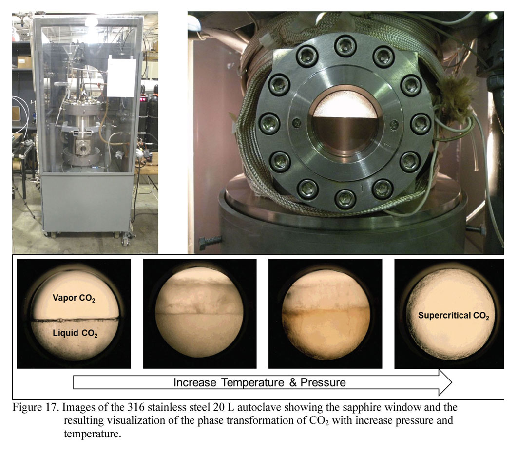 Images of the 316 stainless steel 20 L autoclave showing the sapphire window and the resulting visualization