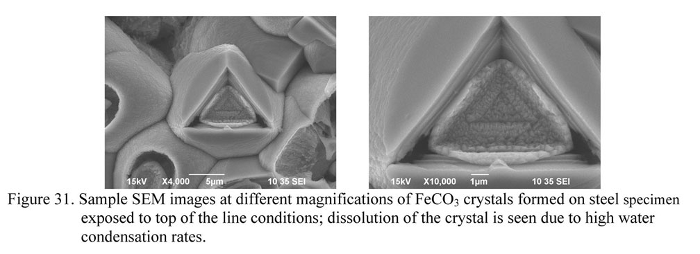Sample SEM images at different magnifications of FeCO3 crystals formed on steel specimen exposed to top of the line conditions; dissolution of the crystal is seen due to high water condensation rates