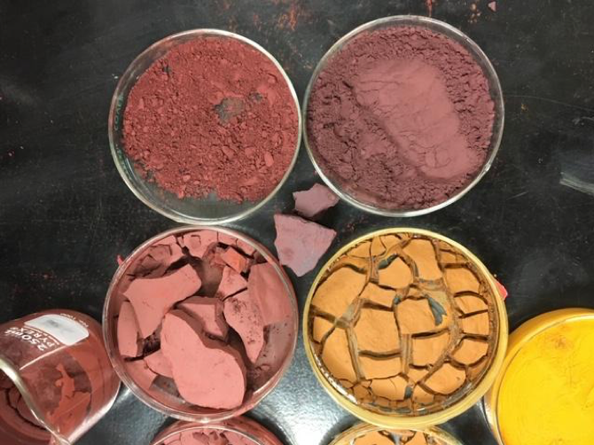 Reclaimed iron oxide pigments being prepared.