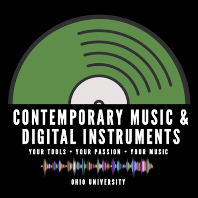 "A logo with a vinyl record that says ""Contemporary Music and Digital Instruments: Your tools, your passion, your music"""