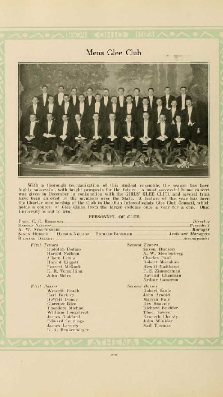 The mens glee club pulled for the 1923 Athena Yearbook.