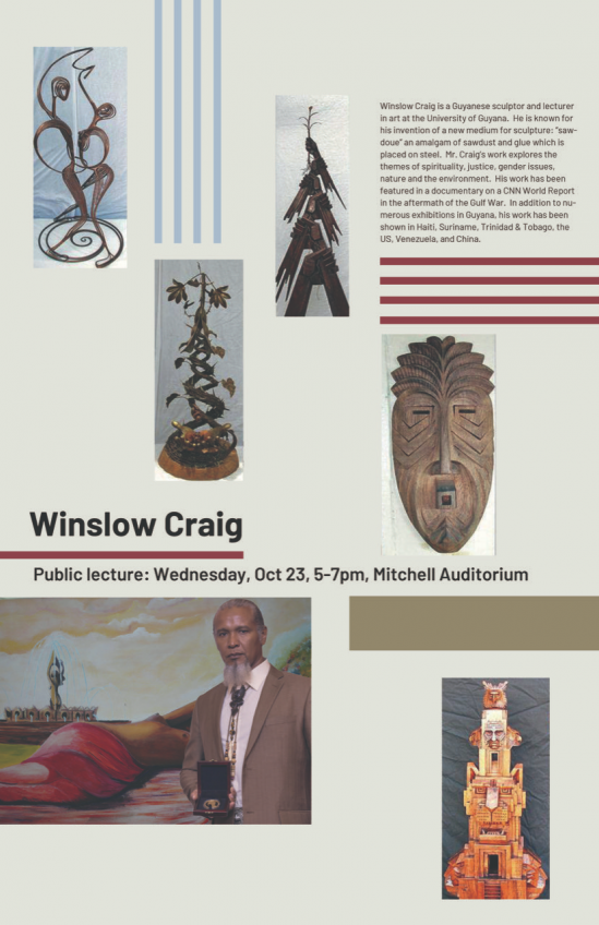 OU Visiting artist poster for WINSLOW CRAIG Guyanese sculptor
