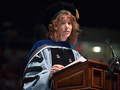 Patricia Weitsman delivers the keynote address during the 2009 graduate commencement.
