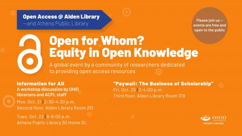 Libraries to Promote Open Access Week with Workshops and Documentary Screening | Ohio University