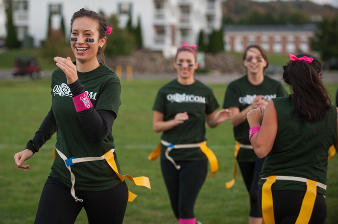 Girls playing flag football