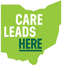 Care Leads Here text over Ohio logo