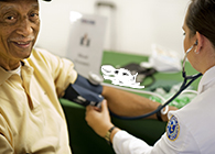 A man getting a blood pressure reading.