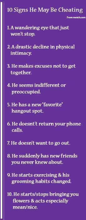 ways to know if she is cheating