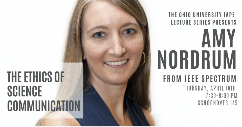 OHIO Alumna Amy Nordrum to host lecture on the ethics of science communication