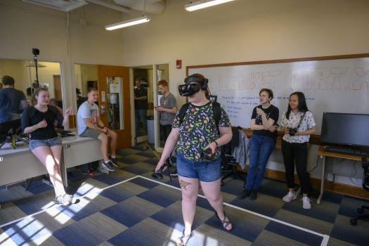 Students demonstrate walkable VR at the 2019 XR Showcase