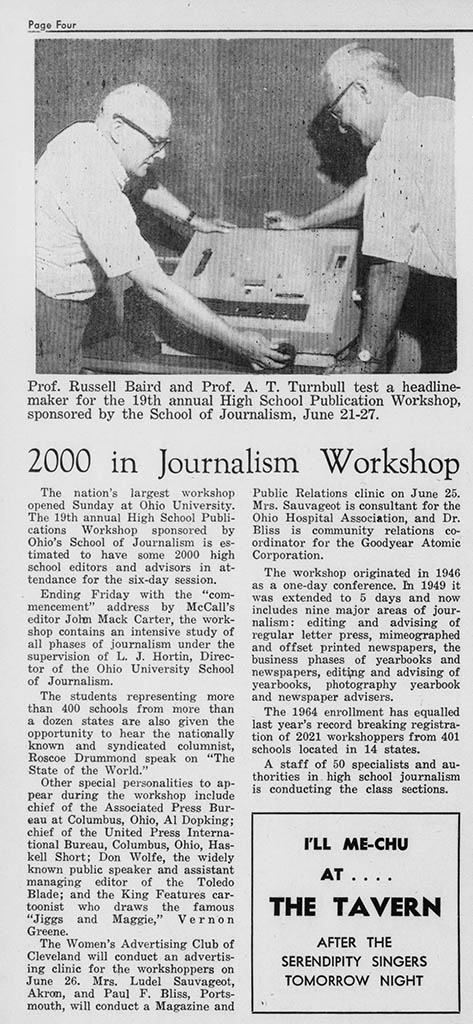 "Paper that reads, ""2000 in Journalism Workshop"""