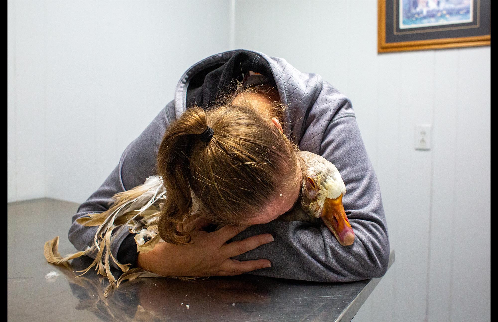 woman grieving pet