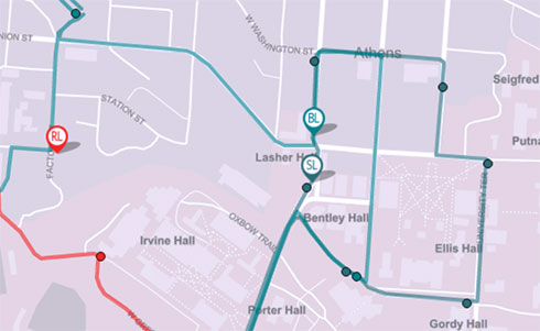 A set of bus routes overlaid across a map of Athens Ohio missing the color blue