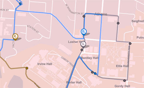 A set of bus routes overlaid across a map of Athens Ohio missing the color green