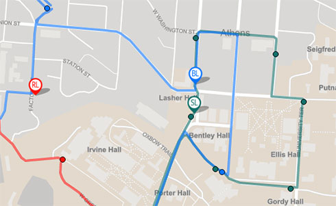 A set of bus routes overlaid across a map of Athens Ohio