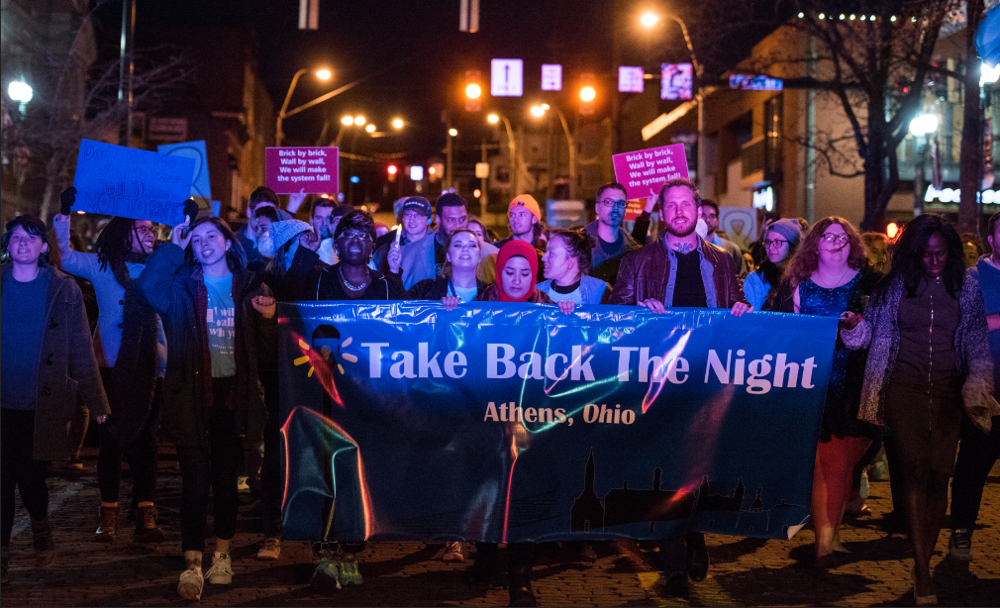 Take Back the Night marchers in Athens, Ohio 2018