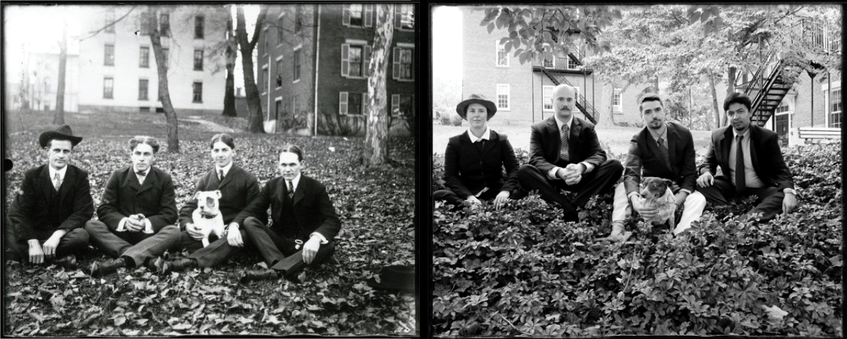 On the left, 4 men and a dog sit on the green circa 1890s. On the right, the same photo recreated in 2018