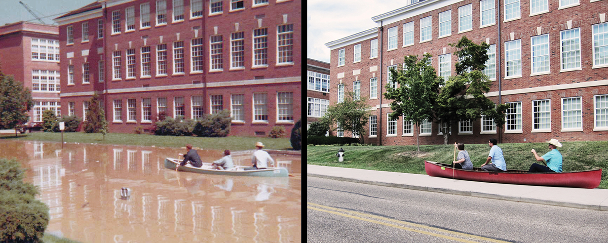 On the left, students on a boat in front of McCracken Hall during a 1968 flood. On the left, ACM recreates the photo in 2018, no flood.