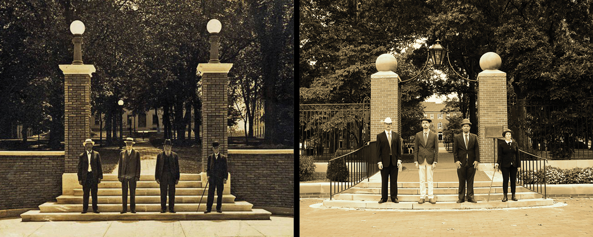 On the left, 4 men stand at the class gateway on West Union St. circa 1910s. On the right, the same photo, recreated in 2018
